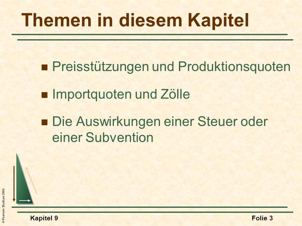 © Pearson Studium 2004 Kapitel 9Folie 74 Die Inzidenz einer Stücksteuer Nach der Erhebung der Steuer müssen vier Bedingungen erfüllt sein: 3)Q D = Q S 4)P b - P S = Steuer