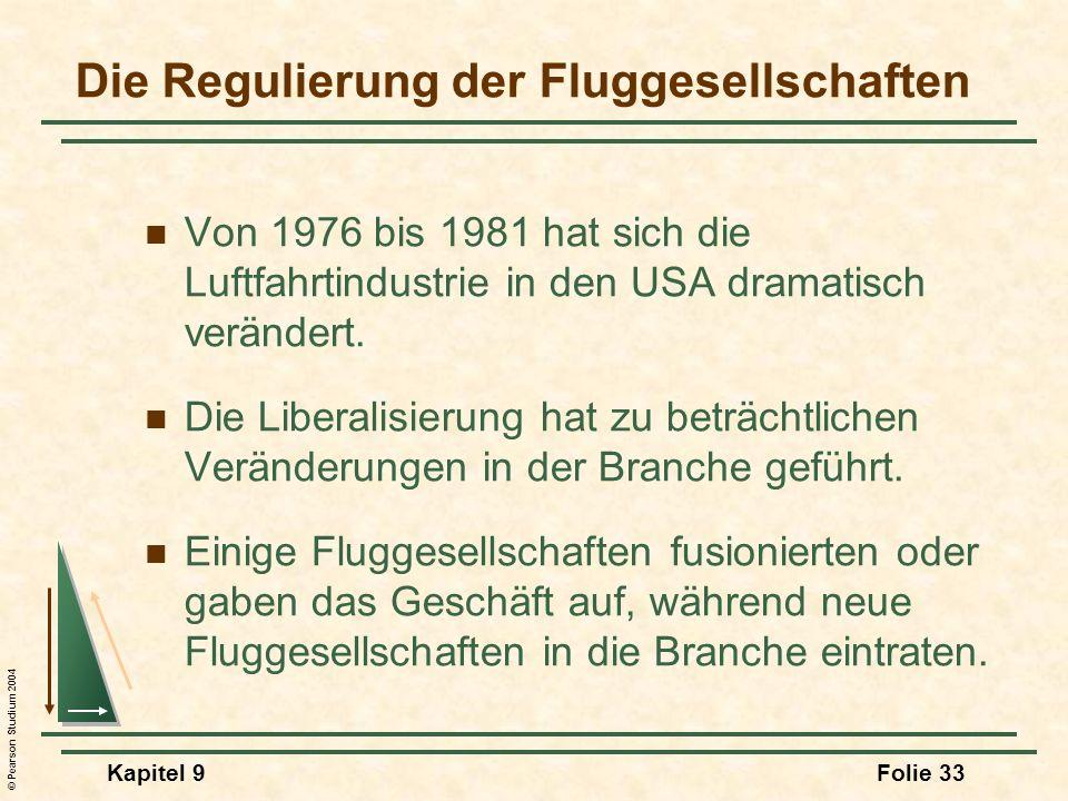 © Pearson Studium 2004 Kapitel 9Folie 33 Die Regulierung der Fluggesellschaften Von 1976 bis 1981 hat sich die Luftfahrtindustrie in den USA dramatisc