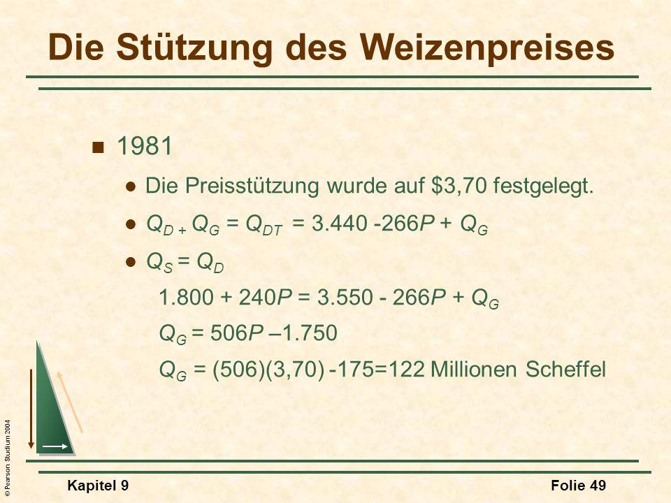 © Pearson Studium 2004 Kapitel 9Folie 49 Die Stützung des Weizenpreises 1981 Die Preisstützung wurde auf $3,70 festgelegt. Q D + Q G = Q DT = 3.440 -2