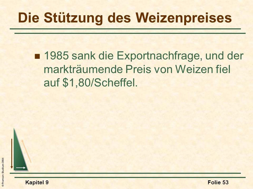 © Pearson Studium 2004 Kapitel 9Folie 53 Die Stützung des Weizenpreises 1985 sank die Exportnachfrage, und der markträumende Preis von Weizen fiel auf $1,80/Scheffel.