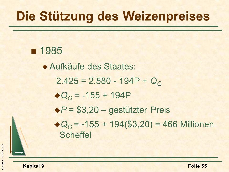 © Pearson Studium 2004 Kapitel 9Folie 55 Die Stützung des Weizenpreises 1985 Aufkäufe des Staates: 2.425 = 2.580 - 194P + Q G Q G = -155 + 194P P = $3