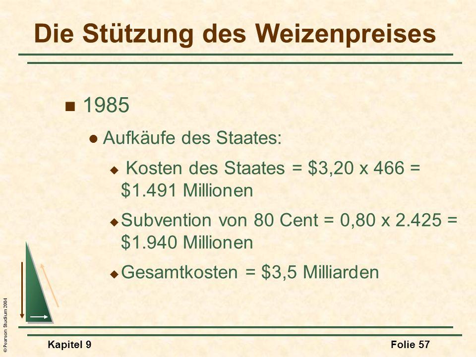 © Pearson Studium 2004 Kapitel 9Folie 57 Die Stützung des Weizenpreises 1985 Aufkäufe des Staates: Kosten des Staates = $3,20 x 466 = $1.491 Millionen Subvention von 80 Cent = 0,80 x 2.425 = $1.940 Millionen Gesamtkosten = $3,5 Milliarden