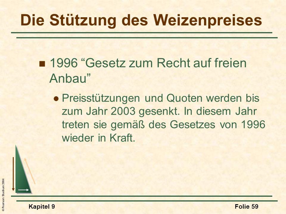 © Pearson Studium 2004 Kapitel 9Folie 59 Die Stützung des Weizenpreises 1996 Gesetz zum Recht auf freien Anbau Preisstützungen und Quoten werden bis zum Jahr 2003 gesenkt.