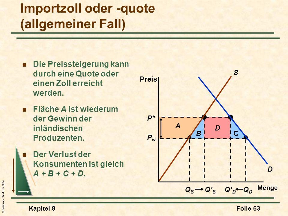 © Pearson Studium 2004 Kapitel 9Folie 63 D CB QSQS QDQD QSQS QDQD A P* PwPw Importzoll oder -quote (allgemeiner Fall) Menge Preis D S Die Preissteigerung kann durch eine Quote oder einen Zoll erreicht werden.