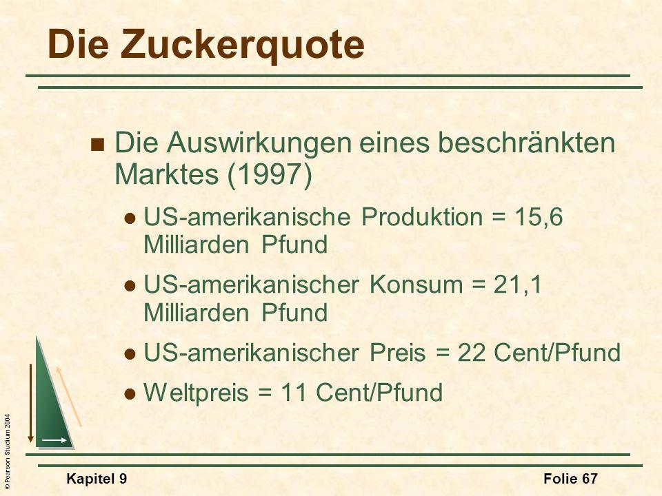 © Pearson Studium 2004 Kapitel 9Folie 67 Die Zuckerquote Die Auswirkungen eines beschränkten Marktes (1997) US-amerikanische Produktion = 15,6 Milliar