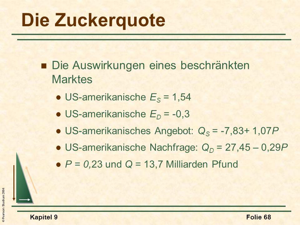 © Pearson Studium 2004 Kapitel 9Folie 68 Die Zuckerquote Die Auswirkungen eines beschränkten Marktes US-amerikanische E S = 1,54 US-amerikanische E D = -0,3 US-amerikanisches Angebot: Q S = -7,83+ 1,07P US-amerikanische Nachfrage: Q D = 27,45 – 0,29P P = 0,23 und Q = 13,7 Milliarden Pfund