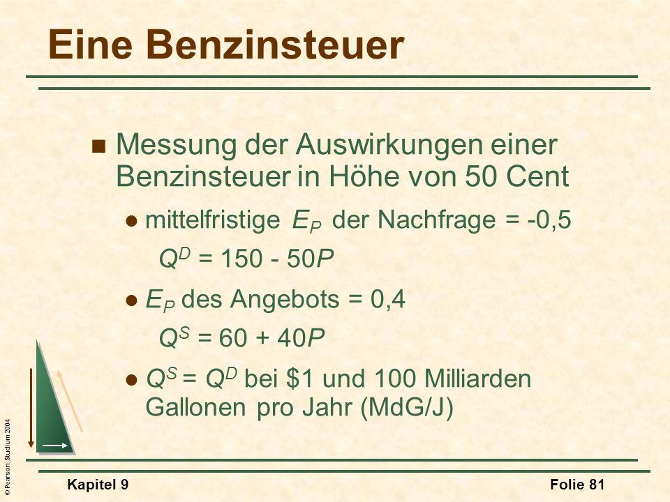 © Pearson Studium 2004 Kapitel 9Folie 81 Eine Benzinsteuer Messung der Auswirkungen einer Benzinsteuer in Höhe von 50 Cent mittelfristige E P der Nachfrage = -0,5 Q D = 150 - 50P E P des Angebots = 0,4 Q S = 60 + 40P Q S = Q D bei $1 und 100 Milliarden Gallonen pro Jahr (MdG/J)