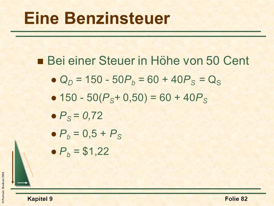 © Pearson Studium 2004 Kapitel 9Folie 82 Eine Benzinsteuer Bei einer Steuer in Höhe von 50 Cent Q D = 150 - 50P b = 60 + 40P S = Q S 150 - 50(P S + 0,50) = 60 + 40P S P S = 0,72 P b = 0,5 + P S P b = $1,22