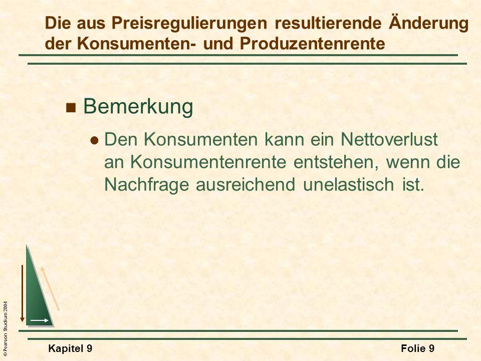 © Pearson Studium 2004 Kapitel 9Folie 9 Bemerkung Den Konsumenten kann ein Nettoverlust an Konsumentenrente entstehen, wenn die Nachfrage ausreichend