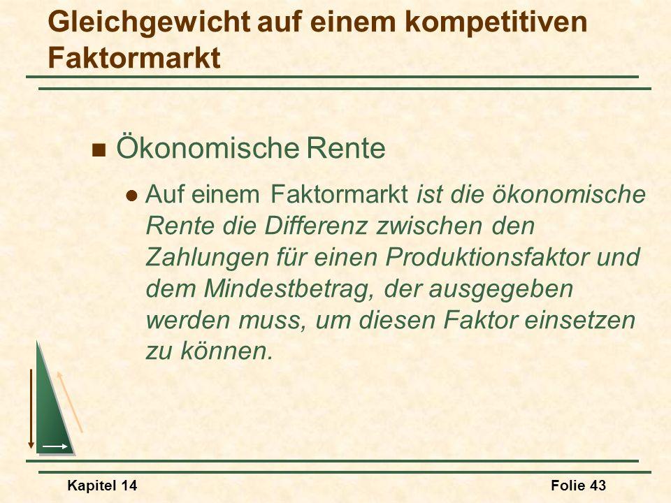 Kapitel 14Folie 43 Ökonomische Rente Auf einem Faktormarkt ist die ökonomische Rente die Differenz zwischen den Zahlungen für einen Produktionsfaktor