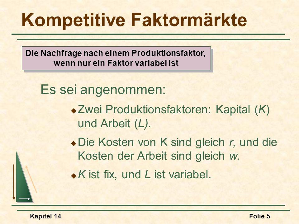 Kapitel 14Folie 5 Kompetitive Faktormärkte Es sei angenommen: Zwei Produktionsfaktoren: Kapital (K) und Arbeit (L). Die Kosten von K sind gleich r, un
