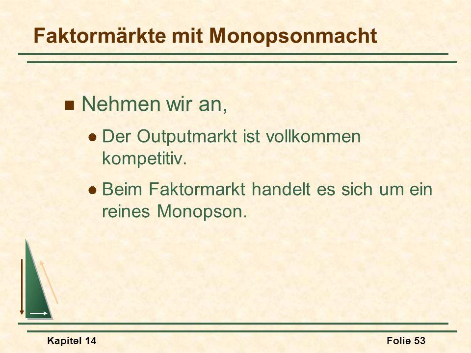 Kapitel 14Folie 53 Faktormärkte mit Monopsonmacht Nehmen wir an, Der Outputmarkt ist vollkommen kompetitiv. Beim Faktormarkt handelt es sich um ein re