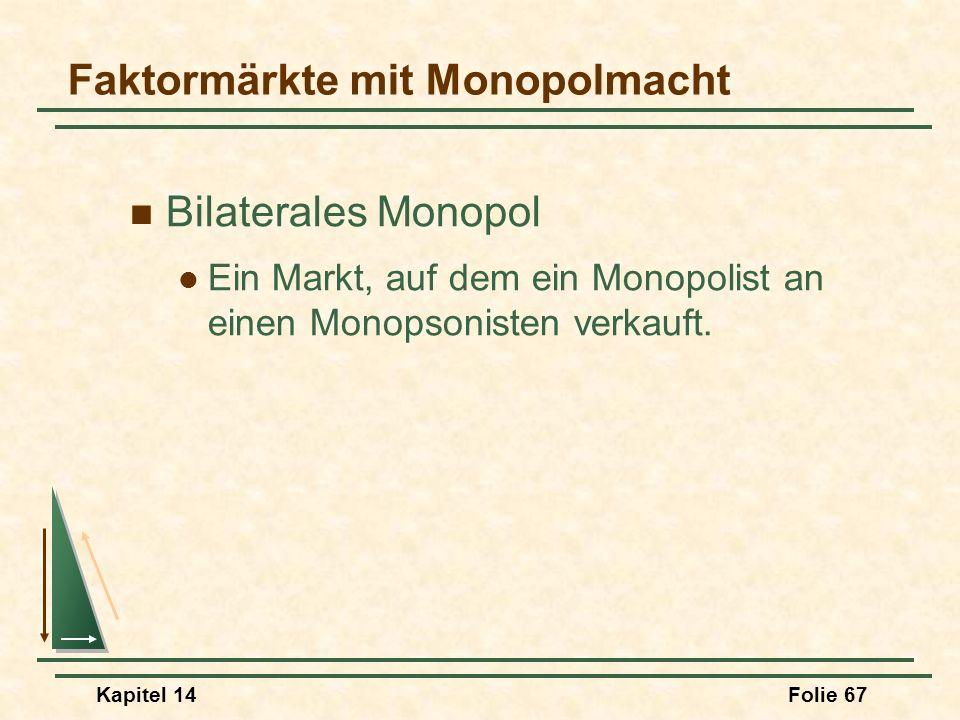 Kapitel 14Folie 67 Bilaterales Monopol Ein Markt, auf dem ein Monopolist an einen Monopsonisten verkauft. Faktormärkte mit Monopolmacht