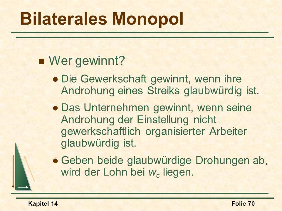Kapitel 14Folie 70 Bilaterales Monopol Wer gewinnt? Die Gewerkschaft gewinnt, wenn ihre Androhung eines Streiks glaubwürdig ist. Das Unternehmen gewin