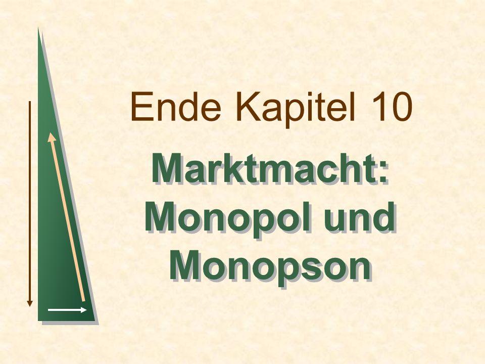 Ende Kapitel 10 Marktmacht: Monopol und Monopson Marktmacht: Monopol und Monopson