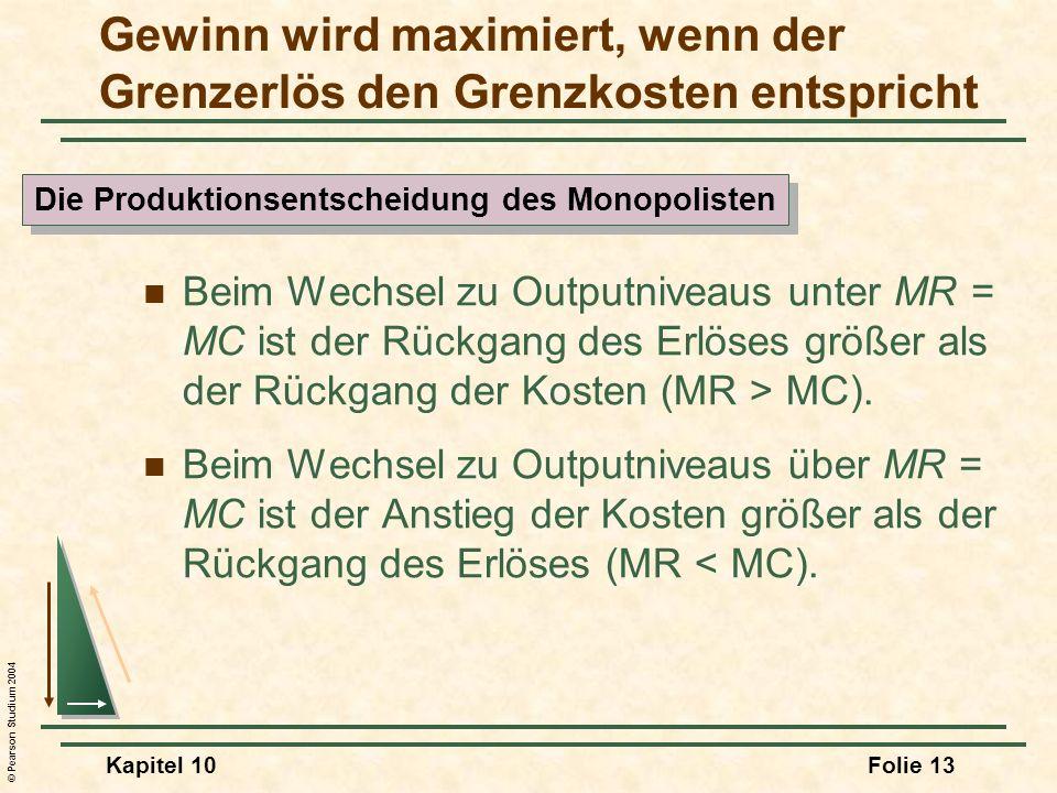 © Pearson Studium 2004 Kapitel 10Folie 13 Gewinn wird maximiert, wenn der Grenzerlös den Grenzkosten entspricht Beim Wechsel zu Outputniveaus unter MR