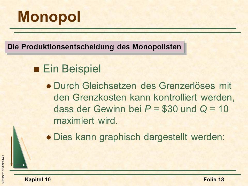 © Pearson Studium 2004 Kapitel 10Folie 18 Monopol Ein Beispiel Durch Gleichsetzen des Grenzerlöses mit den Grenzkosten kann kontrolliert werden, dass