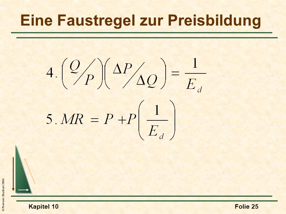 © Pearson Studium 2004 Kapitel 10Folie 25 Eine Faustregel zur Preisbildung