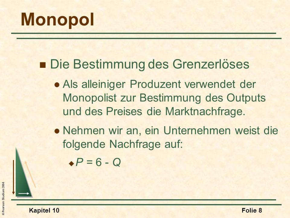 © Pearson Studium 2004 Kapitel 10Folie 39 Die Auswirkung einer Verbrauchssteuer auf einen Monopolisten Menge /Q MC D = AR MR Q0Q0 P0P0 MC + Steuer t Q1Q1 P1P1 Erhöhung von P: P 0 P 1 > Erhöhung der Steuer