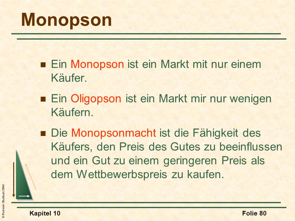© Pearson Studium 2004 Kapitel 10Folie 80 Monopson Ein Monopson ist ein Markt mit nur einem Käufer. Ein Oligopson ist ein Markt mir nur wenigen Käufer