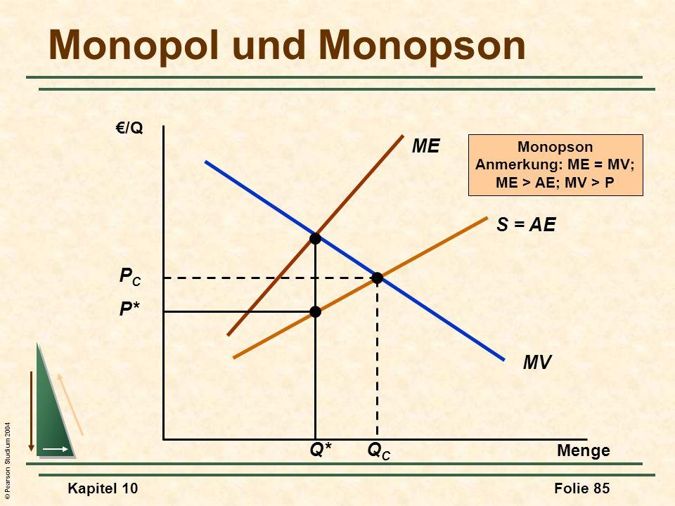© Pearson Studium 2004 Kapitel 10Folie 85 Monopol und Monopson Menge /Q MV ME S = AE Q* P* PCPC QCQC Monopson Anmerkung: ME = MV; ME > AE; MV > P