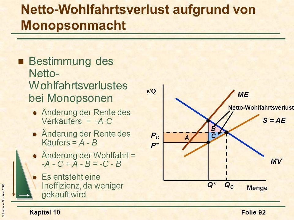 © Pearson Studium 2004 Kapitel 10Folie 92 A Netto-Wohlfahrtsverlust aufgrund von Monopsonmacht Bestimmung des Netto- Wohlfahrtsverlustes bei Monopsone