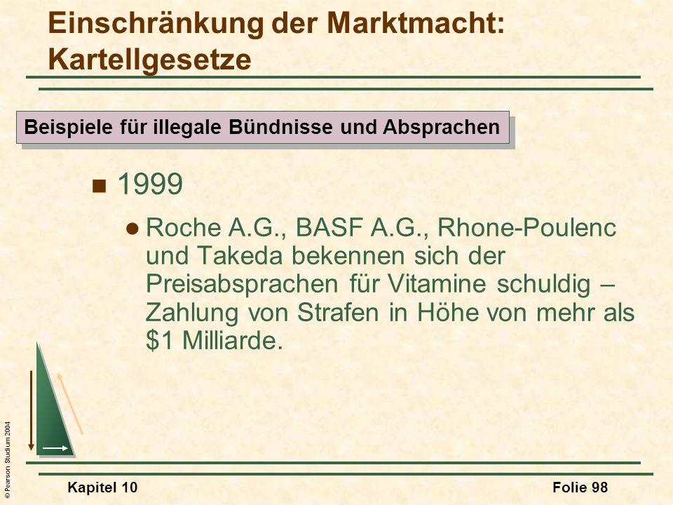 © Pearson Studium 2004 Kapitel 10Folie 98 1999 Roche A.G., BASF A.G., Rhone-Poulenc und Takeda bekennen sich der Preisabsprachen für Vitamine schuldig