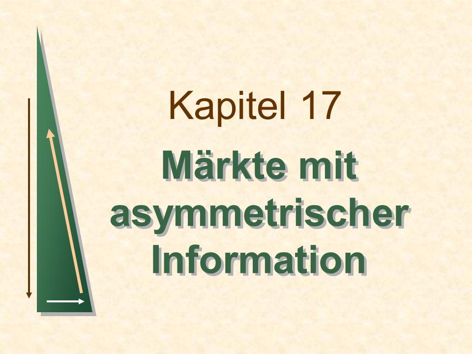 Kapitel 17Folie 22 Marktsignalisierung Ein einfaches Modell der Signalisierung auf dem Arbeitsmarkt Annahmen Kompetitiver Produktmarkt P = 10.000 Die Arbeitskräfte werden durchschnittlich 10 Jahre beschäftigt.