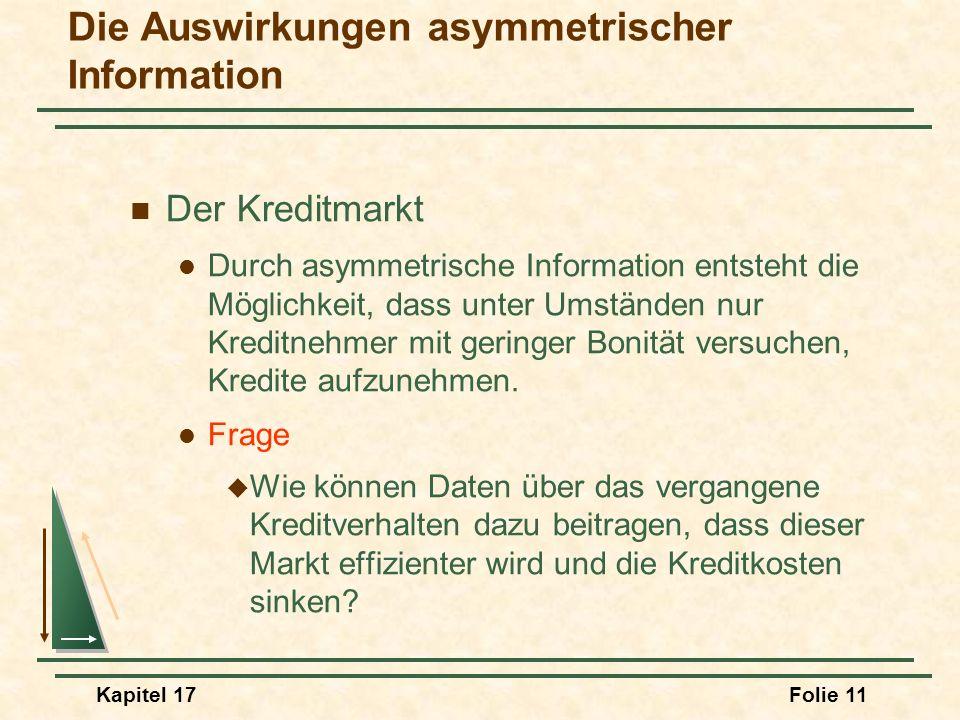 Kapitel 17Folie 11 Die Auswirkungen asymmetrischer Information Der Kreditmarkt Durch asymmetrische Information entsteht die Möglichkeit, dass unter Um