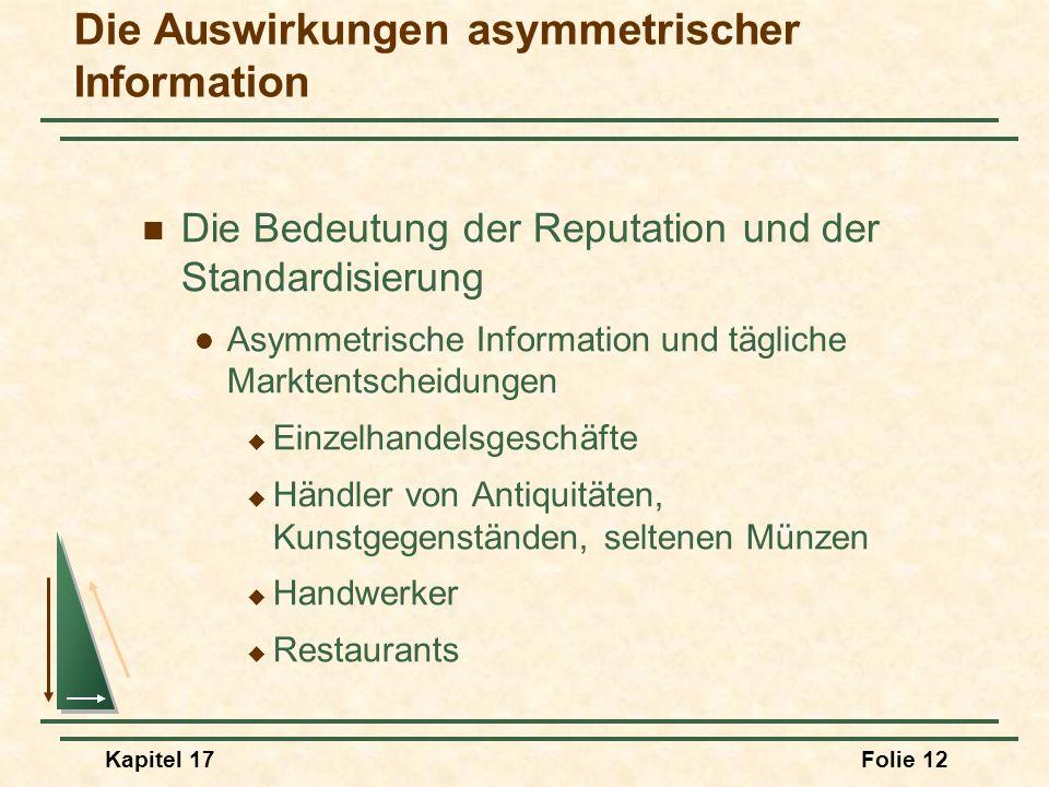 Kapitel 17Folie 12 Die Auswirkungen asymmetrischer Information Die Bedeutung der Reputation und der Standardisierung Asymmetrische Information und täg