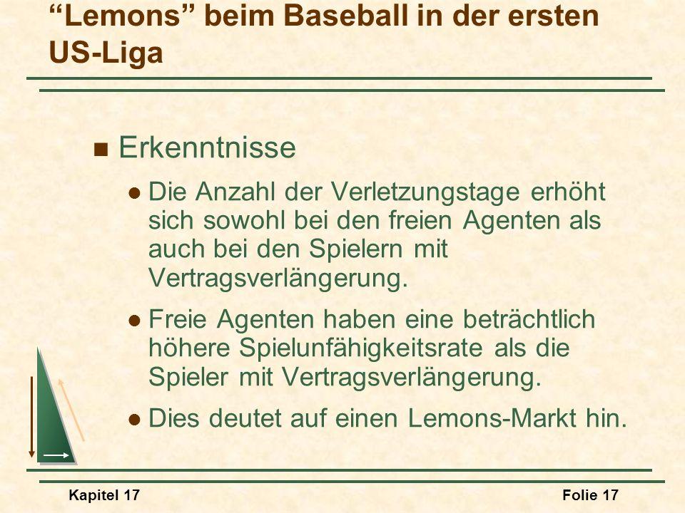 Kapitel 17Folie 17 Erkenntnisse Die Anzahl der Verletzungstage erhöht sich sowohl bei den freien Agenten als auch bei den Spielern mit Vertragsverläng