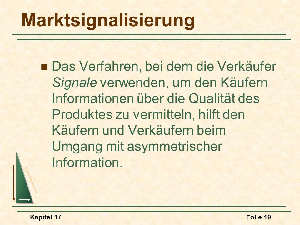 Kapitel 17Folie 19 Marktsignalisierung Das Verfahren, bei dem die Verkäufer Signale verwenden, um den Käufern Informationen über die Qualität des Prod