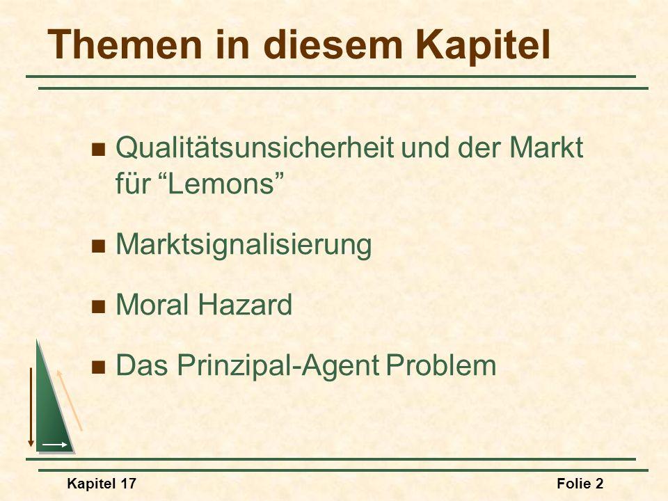 Kapitel 17Folie 2 Themen in diesem Kapitel Qualitätsunsicherheit und der Markt für Lemons Marktsignalisierung Moral Hazard Das Prinzipal-Agent Problem