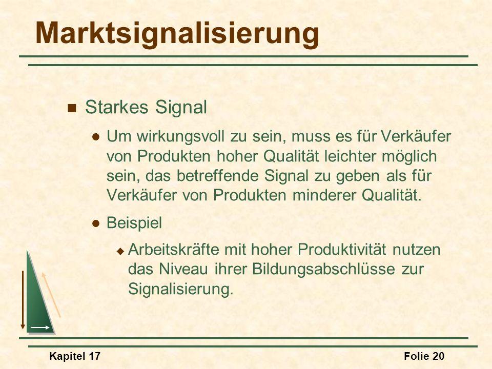 Kapitel 17Folie 20 Marktsignalisierung Starkes Signal Um wirkungsvoll zu sein, muss es für Verkäufer von Produkten hoher Qualität leichter möglich sei