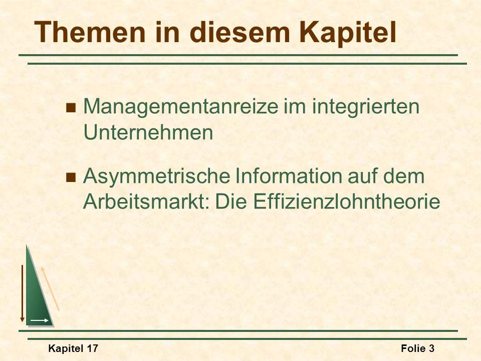 Kapitel 17Folie 54 Das Prinzipal-Agent-Problem Anreize im Rahmen des Prinzipal-Agent- Konzepts Die Wahl des Lohnes w = 0, a = 0, R = 15.000 R = 10.000 oder 20.000, w = 0 R = 40.000, w = 24.000 R = 30.000, Gewinn = 18.000 Nettolohn = 2.000