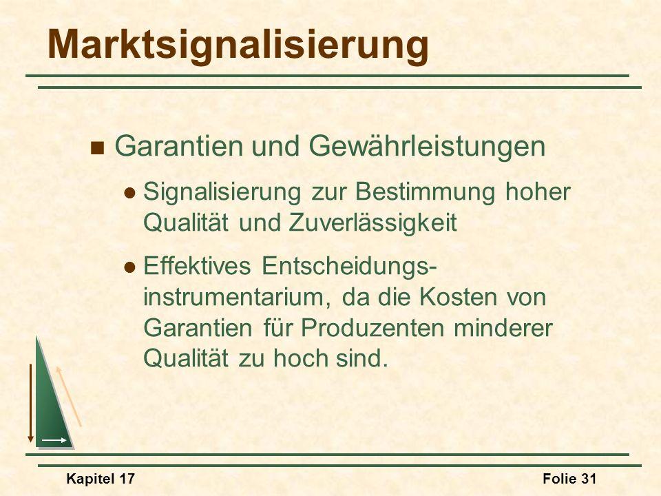 Kapitel 17Folie 31 Marktsignalisierung Garantien und Gewährleistungen Signalisierung zur Bestimmung hoher Qualität und Zuverlässigkeit Effektives Ents