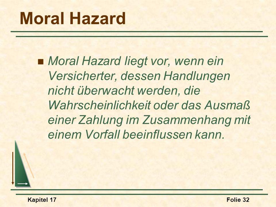 Kapitel 17Folie 32 Moral Hazard Moral Hazard liegt vor, wenn ein Versicherter, dessen Handlungen nicht überwacht werden, die Wahrscheinlichkeit oder d