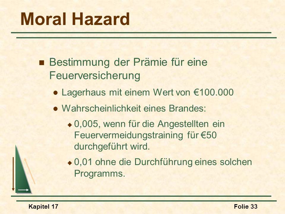 Kapitel 17Folie 33 Moral Hazard Bestimmung der Prämie für eine Feuerversicherung Lagerhaus mit einem Wert von 100.000 Wahrscheinlichkeit eines Brandes