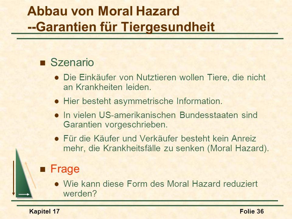 Kapitel 17Folie 36 Abbau von Moral Hazard --Garantien für Tiergesundheit Szenario Die Einkäufer von Nutztieren wollen Tiere, die nicht an Krankheiten