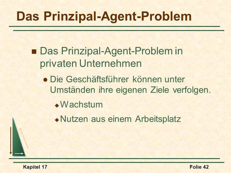 Kapitel 17Folie 42 Das Prinzipal-Agent-Problem Das Prinzipal-Agent-Problem in privaten Unternehmen Die Geschäftsführer können unter Umständen ihre eig