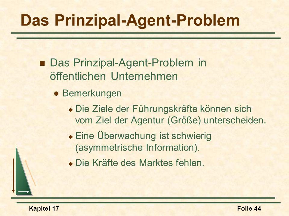 Kapitel 17Folie 44 Das Prinzipal-Agent-Problem Das Prinzipal-Agent-Problem in öffentlichen Unternehmen Bemerkungen Die Ziele der Führungskräfte können