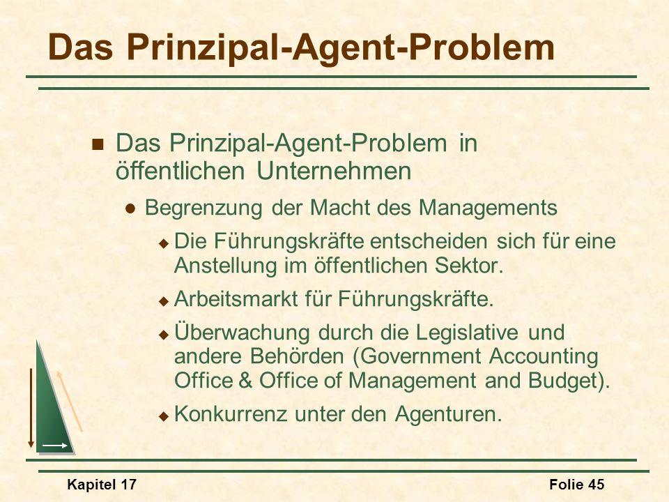 Kapitel 17Folie 45 Das Prinzipal-Agent-Problem Das Prinzipal-Agent-Problem in öffentlichen Unternehmen Begrenzung der Macht des Managements Die Führun
