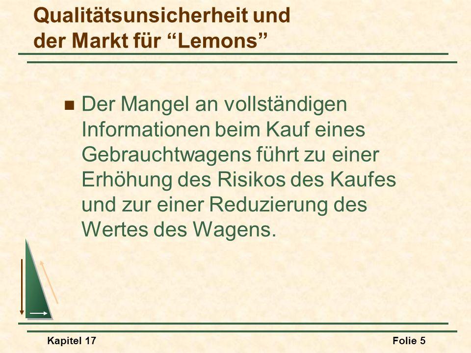 Kapitel 17Folie 5 Qualitätsunsicherheit und der Markt für Lemons Der Mangel an vollständigen Informationen beim Kauf eines Gebrauchtwagens führt zu ei