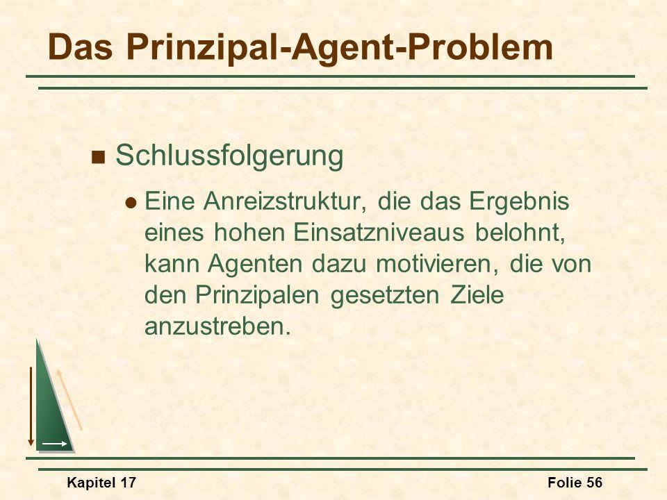 Kapitel 17Folie 56 Das Prinzipal-Agent-Problem Schlussfolgerung Eine Anreizstruktur, die das Ergebnis eines hohen Einsatzniveaus belohnt, kann Agenten