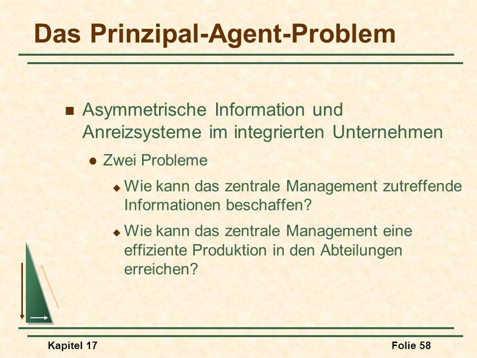 Kapitel 17Folie 58 Das Prinzipal-Agent-Problem Asymmetrische Information und Anreizsysteme im integrierten Unternehmen Zwei Probleme Wie kann das zent