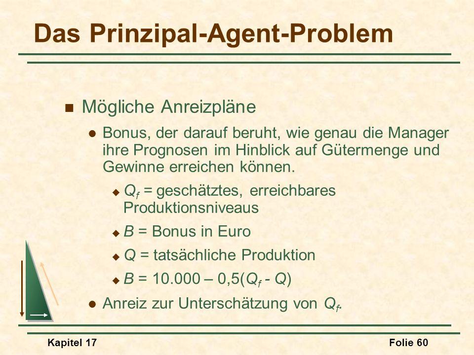 Kapitel 17Folie 60 Das Prinzipal-Agent-Problem Mögliche Anreizpläne Bonus, der darauf beruht, wie genau die Manager ihre Prognosen im Hinblick auf Güt