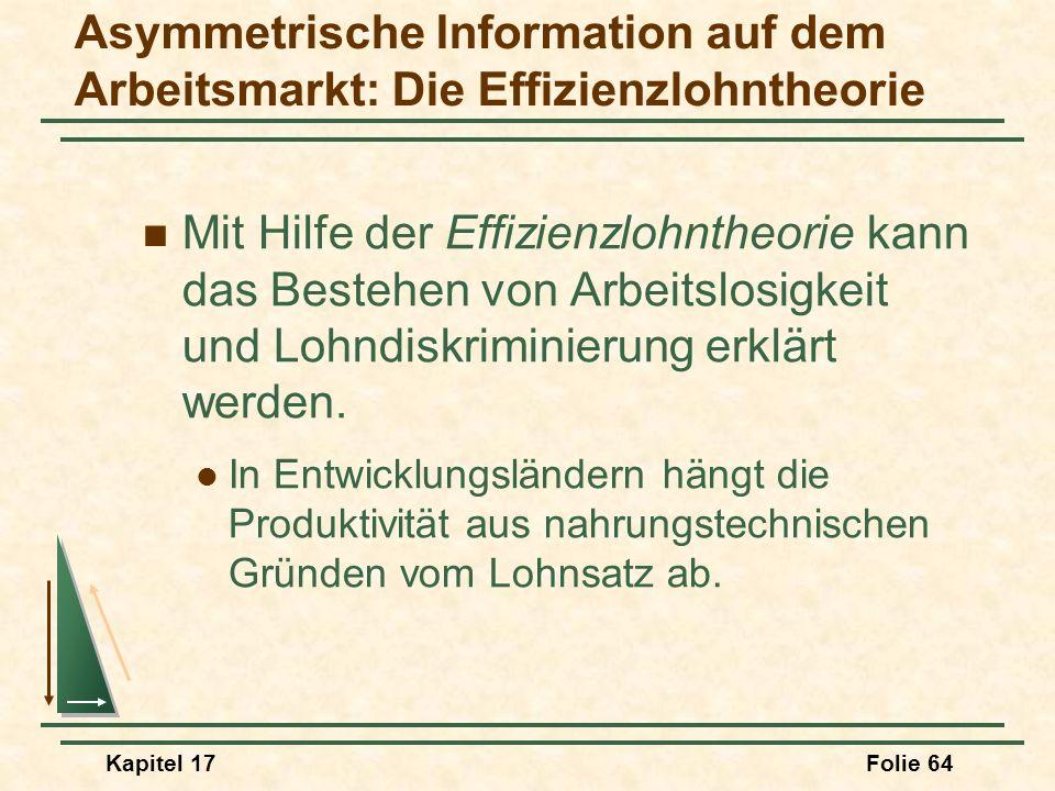 Kapitel 17Folie 64 Mit Hilfe der Effizienzlohntheorie kann das Bestehen von Arbeitslosigkeit und Lohndiskriminierung erklärt werden. In Entwicklungslä