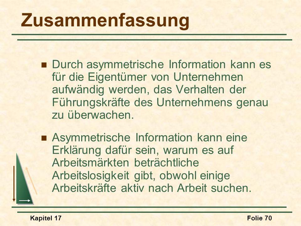 Kapitel 17Folie 70 Zusammenfassung Durch asymmetrische Information kann es für die Eigentümer von Unternehmen aufwändig werden, das Verhalten der Führ
