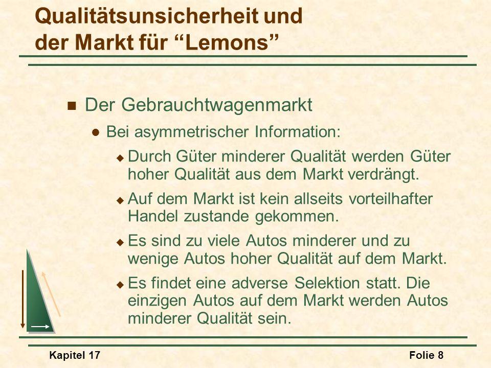 Kapitel 17Folie 19 Marktsignalisierung Das Verfahren, bei dem die Verkäufer Signale verwenden, um den Käufern Informationen über die Qualität des Produktes zu vermitteln, hilft den Käufern und Verkäufern beim Umgang mit asymmetrischer Information.