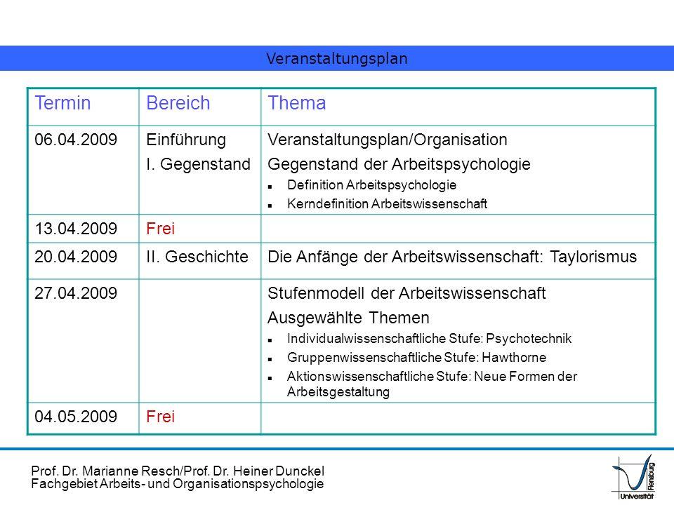 Prof. Dr. Marianne Resch/Prof. Dr. Heiner Dunckel Fachgebiet Arbeits- und Organisationspsychologie TerminBereichThema 06.04.2009Einführung I. Gegensta